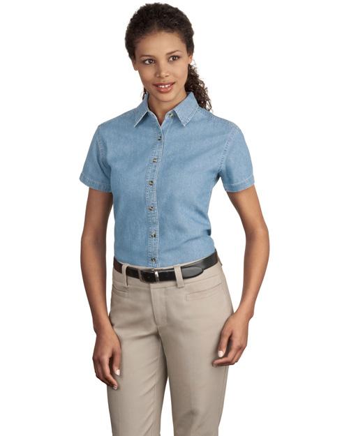 Port & Company LSP11 Women Short Sleeve Value Denim Shirt Faded Blue* at bigntallapparel