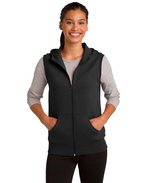 Sport-Tek LST268 Women Hooded Fleece Vest Black at bigntallapparel
