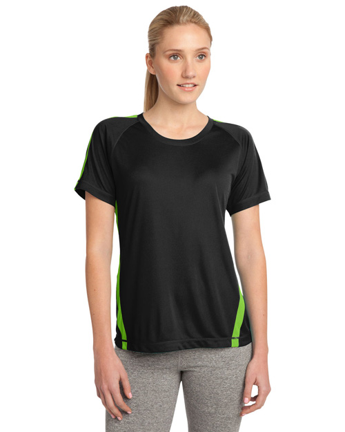 Sport-Tek LST351 Women Colorblock Competitor Tee Black/Lime Shk at bigntallapparel