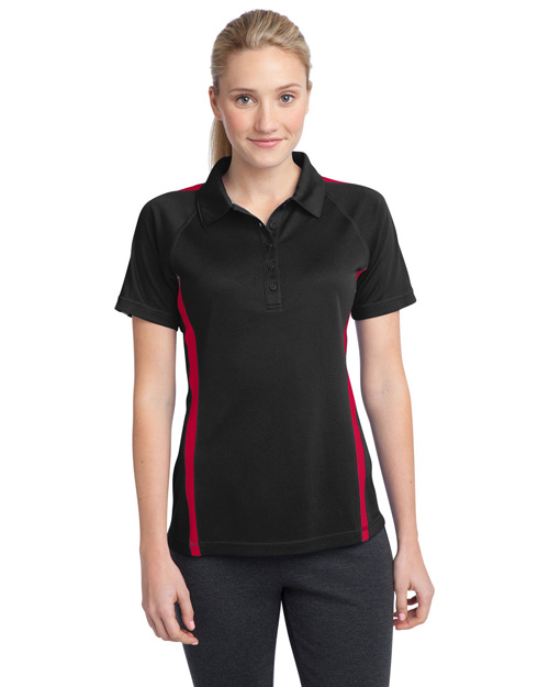 Sport-Tek LST685 Women Posicharge Micromesh Colorblock Polo Black/Tr Red at bigntallapparel