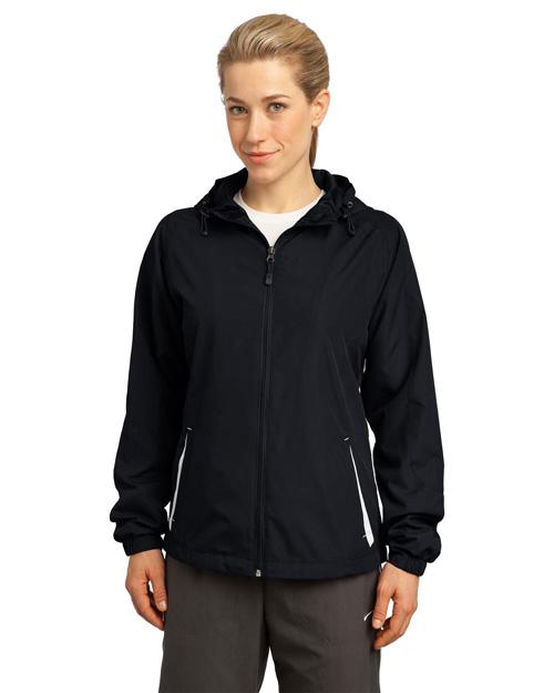 Sport-Tek LST76 Women Colorblock Hooded Jacket Black/White at bigntallapparel