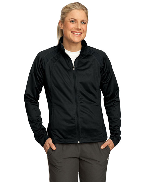 Sport-Tek LST90 Women Tricot Track Jacket Black/Black at bigntallapparel