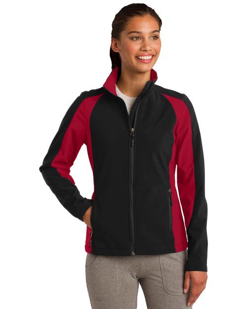 Sport-Tek LST970 Women Colorblock Soft Shell Jacket Black/True Red at bigntallapparel