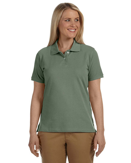 Harriton M100W Women 6.5 Oz. Ringspun Cotton Pique Short-Sleeve Polo Dill at bigntallapparel