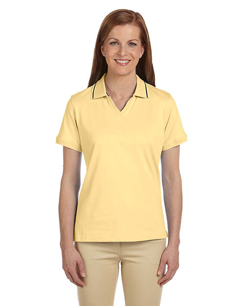 Harriton M140W Women 5.9 Oz. Cotton Jersey Short-Sleeve Polo With Tipping Straw/Navy at bigntallapparel