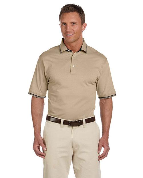 Harriton M140 Men 5.9 Oz Cotton Jersey Short Sleeve Polo With Tipping Stone/Black at bigntallapparel