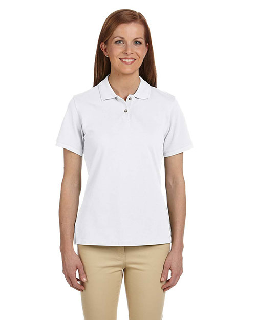 Harriton M200W Women 6 Oz. Ringspun Cotton Pique Short-Sleeve Polo White at bigntallapparel