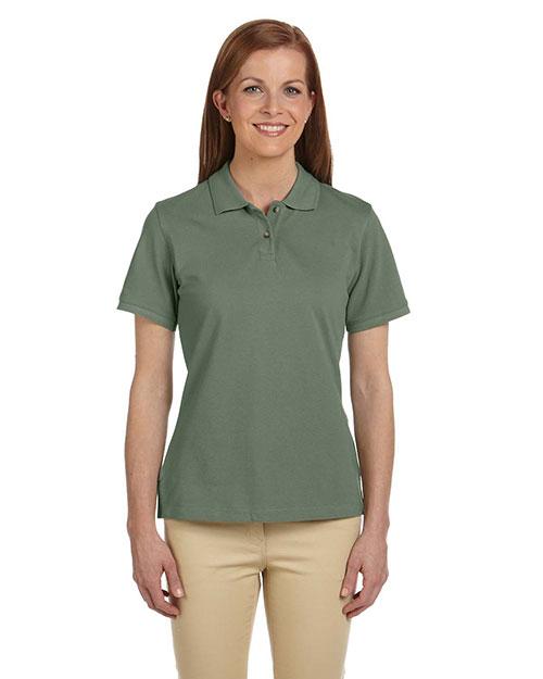 Harriton M200W Women 6 Oz. Ringspun Cotton Pique Short-Sleeve Polo Dill at bigntallapparel