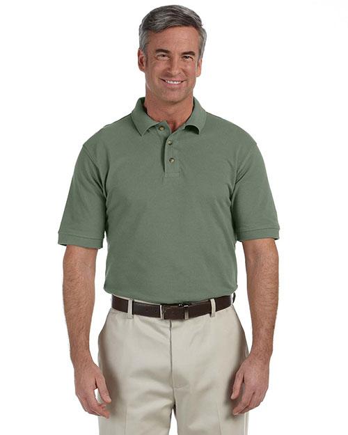 Harriton M200 Men 6 Oz Ringspun Cotton Pique Short Sleeve Polo Dill at bigntallapparel