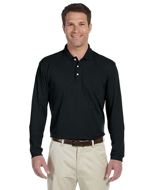 Harriton M265L Men 5 Oz Easy Blend Long Sleeve Polo Black at bigntallapparel