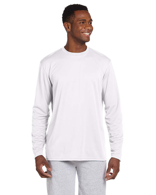 Harriton M320L Men 4.2 Oz. Athletic Sport Long-Sleeve T-Shirt White at bigntallapparel