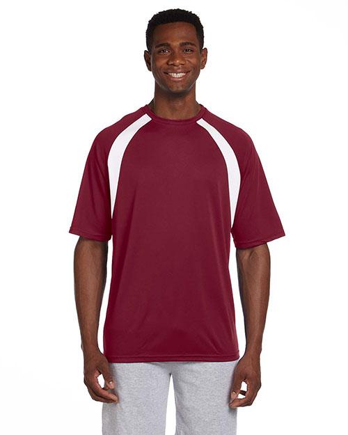 Harriton M322 Men 4.2 Oz. Athletic Sport Color Block T-Shirt Maroon/White at bigntallapparel