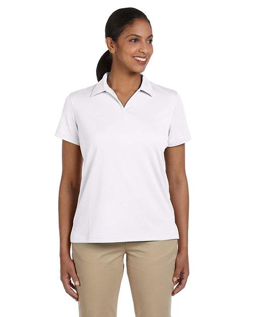 Harriton M353W Women Double Mesh Sport Shirt White at bigntallapparel