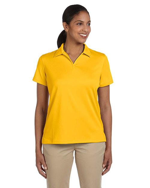 Harriton M353W Women Double Mesh Sport Shirt Gold at bigntallapparel