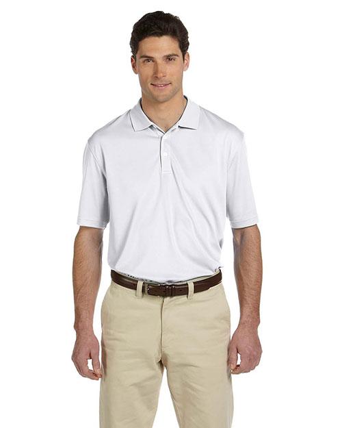 Harriton M353 Men Double Mesh Sport Shirt White at bigntallapparel
