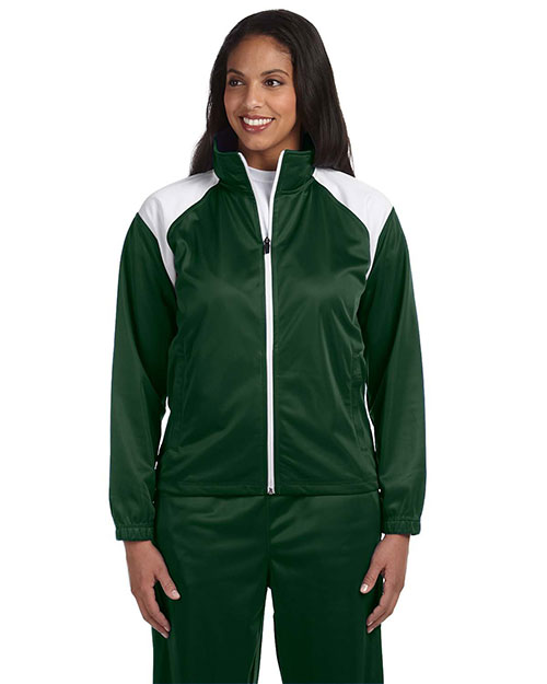 Harriton M390W Women Tricot Track Jacket Dark Green/White at bigntallapparel