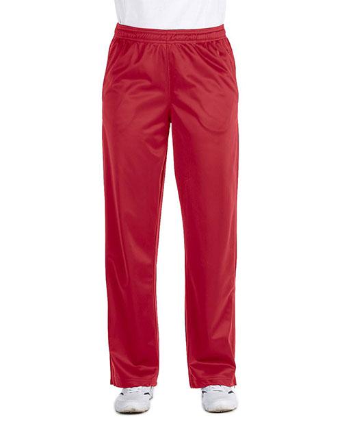 Harriton M391W Women Tricot Track Pants Red at bigntallapparel