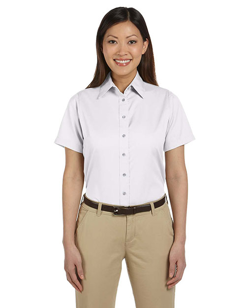 Harriton M500SW Women Short-Sleeve Twill Shirt With Stain-Release White at bigntallapparel