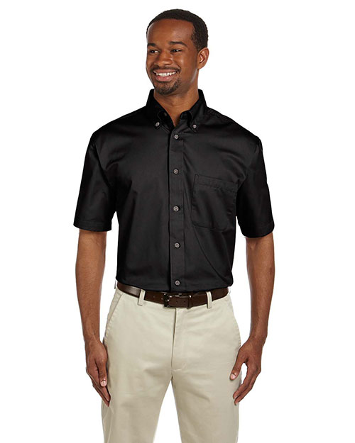 Harriton M500S Men Short Sleeve Twill Shirt With Stain-Release Black at bigntallapparel