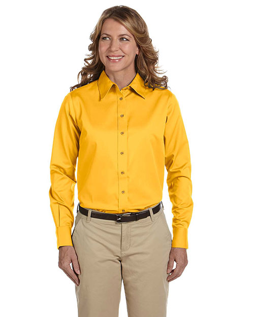 Harriton M500W Women Long-Sleeve Twill Shirt With Stain-Release Sunray Yellow at bigntallapparel