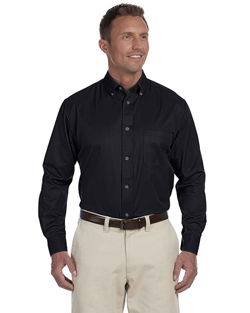Harriton M500 Men Long Sleeve Twill Shirt With Stain-Release Black at bigntallapparel