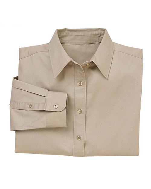 Harriton M520W Women 4.5 Oz. Long-Sleeve Millennium Twill Shirt Khaki at bigntallapparel