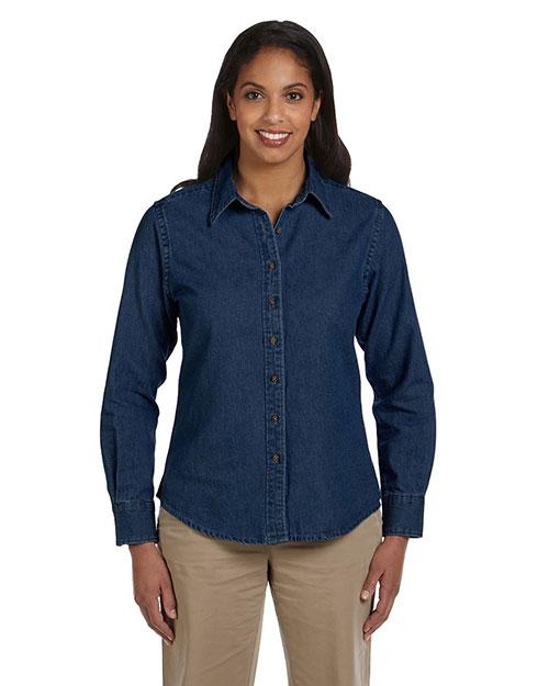 Harriton M550W Women 6.5 Oz. Long-Sleeve Denim Shirt Dark Denim at bigntallapparel