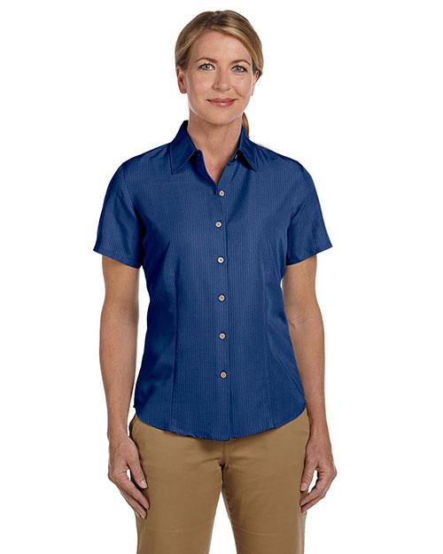 Harriton M560W Women Barbados Textured Camp Shirt Pool Blue at bigntallapparel