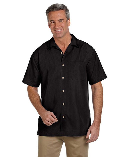 Harriton M560 Men Barbados Textured Camp Shirt Black at bigntallapparel