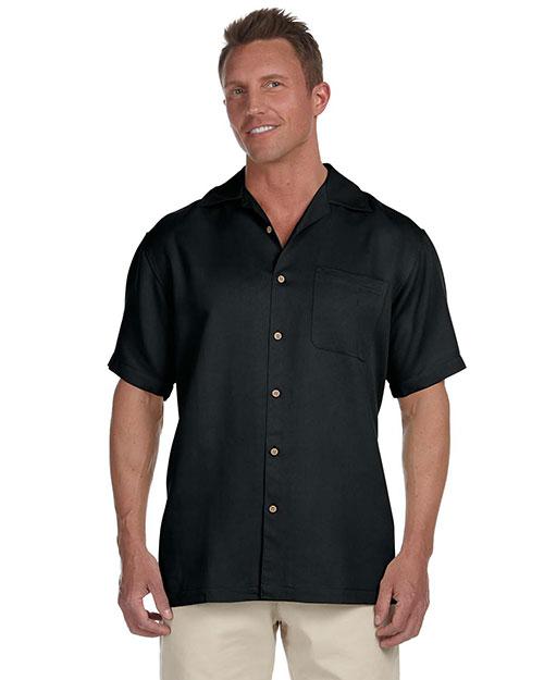 Harriton M570 Men Bahama Cord Camp Shirt Black at bigntallapparel