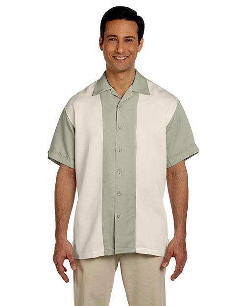 Harriton M575 Men Two Tone Bahama Cord Camp Shirt Green Mist/Creme at bigntallapparel