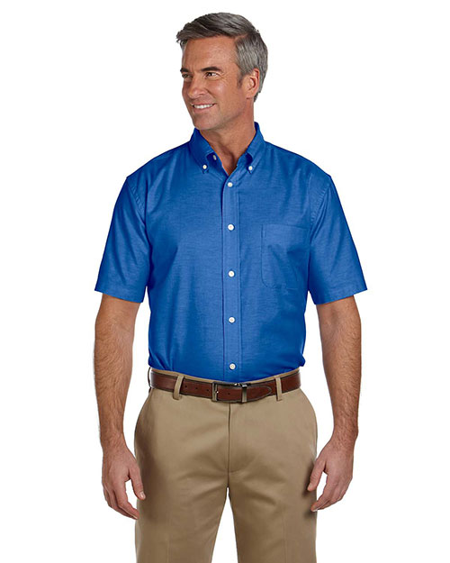 Harriton M600S Men Short Sleeve Oxford With Stain-Release French Blue at bigntallapparel