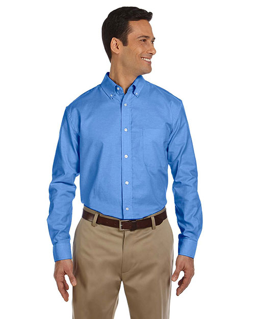 Harriton M600 Men Long Sleeve Oxford With Stain-Release French Blue at bigntallapparel