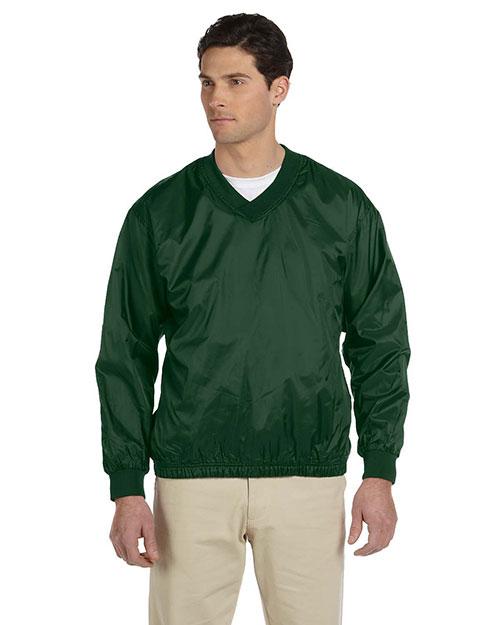 Harriton M720 Men Athletic V Neck Pullover Jacket Dark Green at bigntallapparel