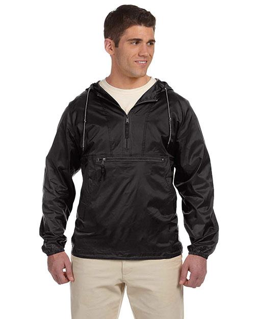 Harriton M750 Men Packable Nylon Jacket Black at bigntallapparel