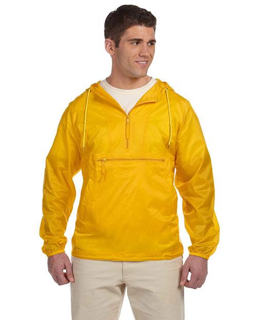 Harriton M750 Men Packable Nylon Jacket Sunray Yellow at bigntallapparel