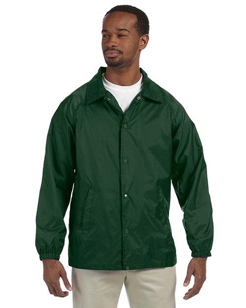 Harriton M775 Men Nylon Staff Jacket Dark Green at bigntallapparel