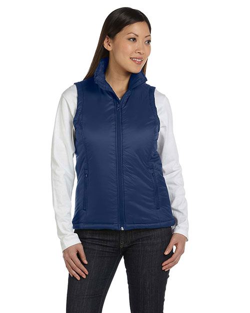 Harriton M795W Women Essential Polyfill Vest New Navy at bigntallapparel