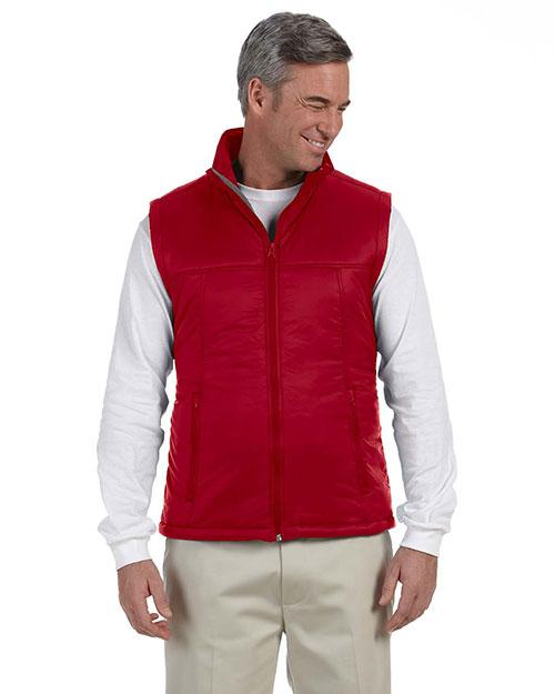 Harriton M795 Men Essential Polyfill Vest Red at bigntallapparel