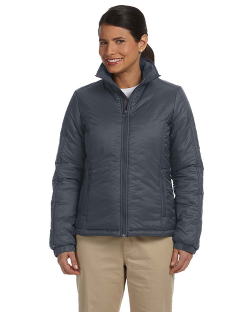 Harriton M797W Women Essential Polyfill Jacket Graphite at bigntallapparel