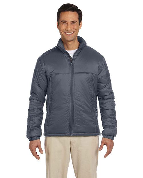 Harriton M797 Men Essential Polyfill Jacket Graphite at bigntallapparel