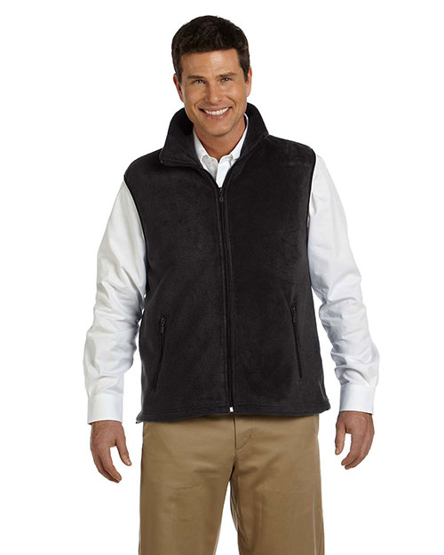 Harriton M985 Men 8 Oz Fleece Vest Black at bigntallapparel