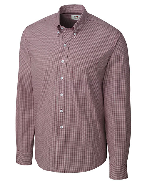 Cutter & Buck MCW01878 Men Long Sleeve Epic Easy Care Gingham Bordeaux at bigntallapparel