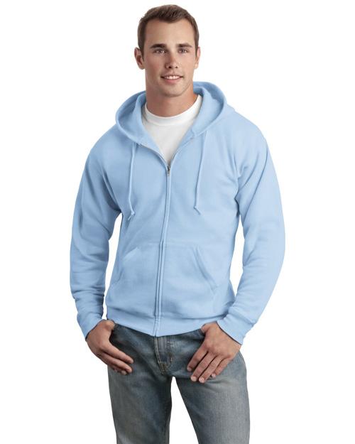 Hanes P180 Men Comfortblend Full Zip Hooded Sweatshirt Light Blue at bigntallapparel