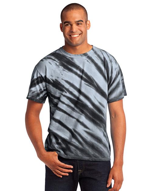Port & Company PC148 Men Essential Tiger Stripe Tie-Dye Tee Black at bigntallapparel