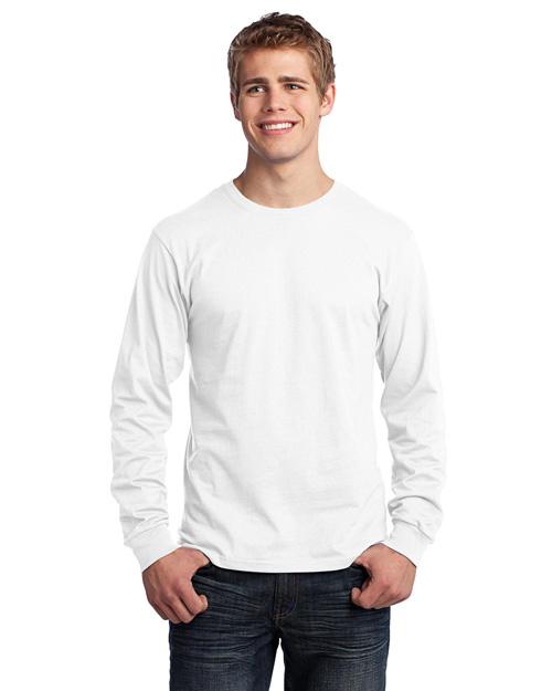 Port & Company PC54LS Men Long Sleeve 5.4-Oz. 100% Cotton T-Shirt White at bigntallapparel