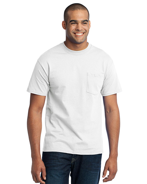 Port & Company PC55PT Men Tall 50/50 Cotton/Poly Tshirt With Pocket White at bigntallapparel