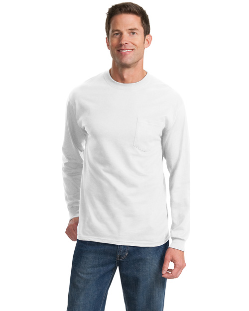 Port & Company PC61LSPT Men Tall Long Sleeve Essential Tshirt With Pocket White at bigntallapparel
