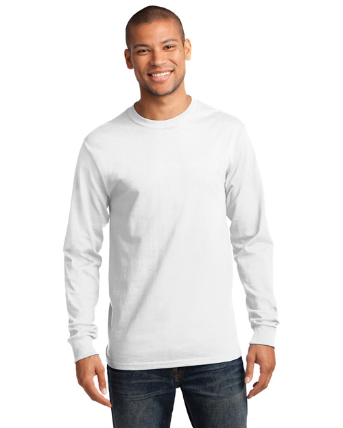 Port & Company PC61LST Men Tall Long Sleeve Essential Tshirt White at bigntallapparel