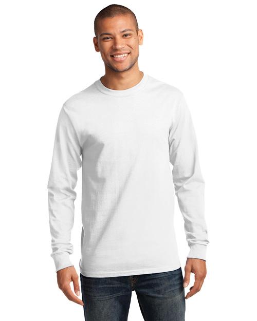 Port & Company PC61LS Men 100% Cotton Essential Long Sleeve T Shirt White at bigntallapparel